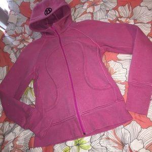 Lululemon silver sparkle Paris pink scuba hoodie